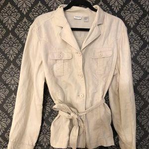 Chico's sz 3  Linen Shirt Jacket, Belted Safari
